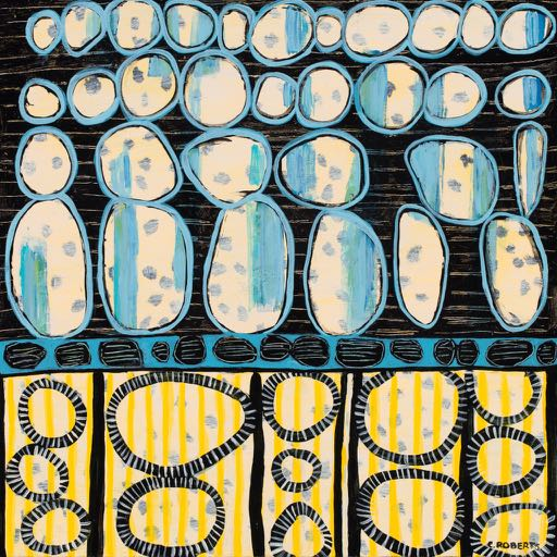 Blue Bubbles 16 x 16 wood panel